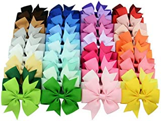 Hair Clips Chiffon Grosgrain Ribbon Alligator Clips Hair Accessories Bows Barrettes (3 Inch, 40 Colors)