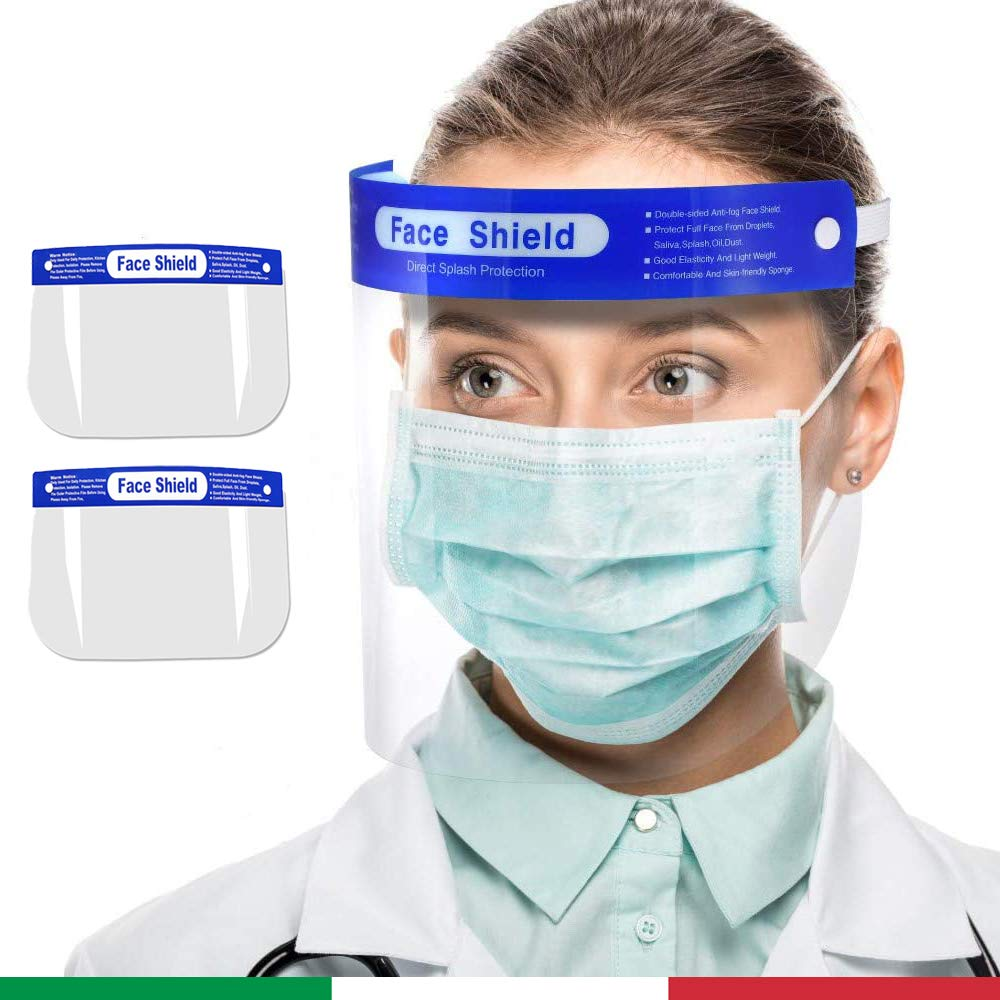2 viseras protectoras transparentes antisalpicaduras, para adultos y niños, talla única, máscara de protección facial, pantalla de plástico PVC, protección para ojos y nariz, vendedor italiano