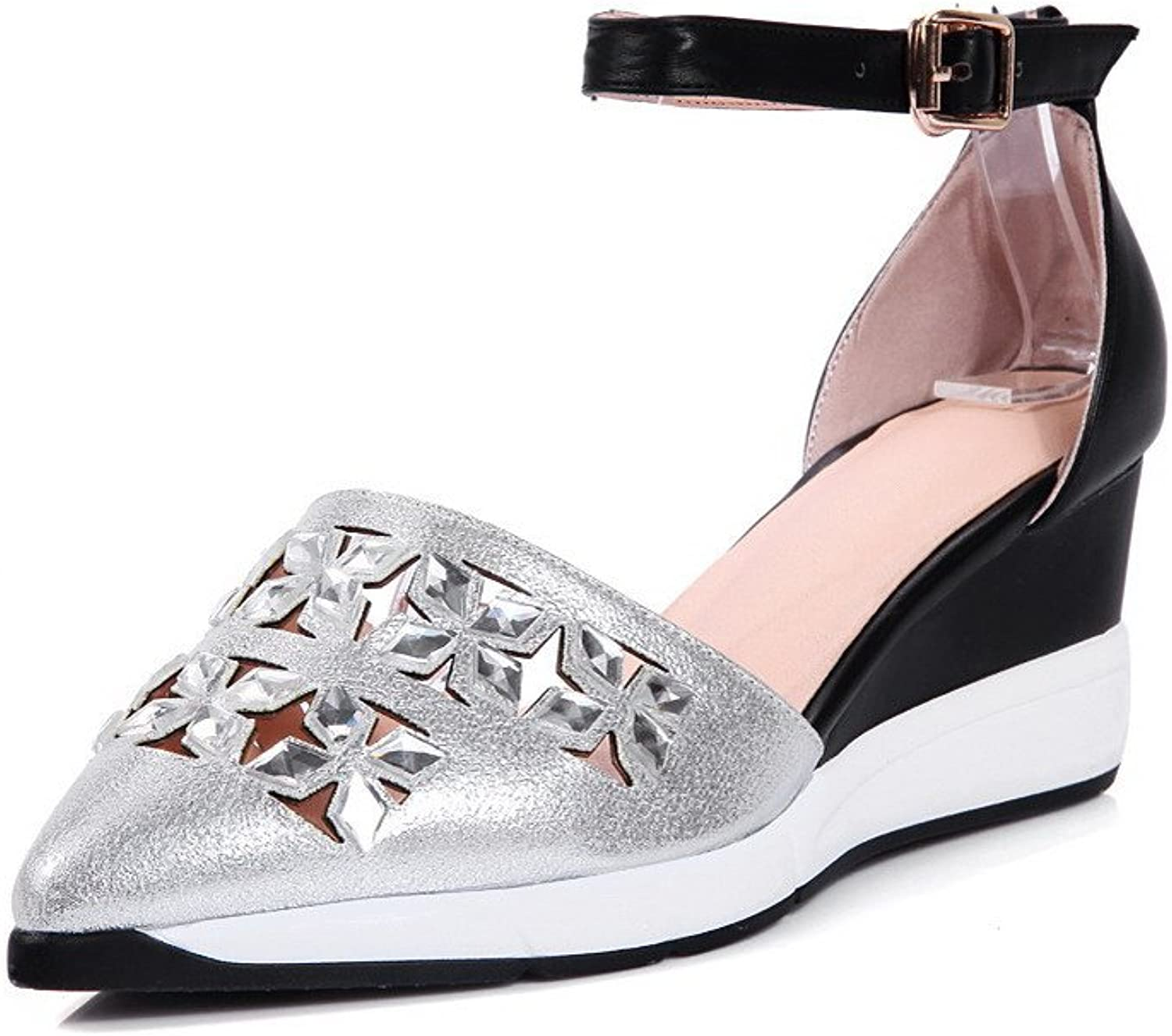 AmoonyFashion Women's Soft Leather Pointed Closed Toe Kitten Heels Assorted color Pumps shoes