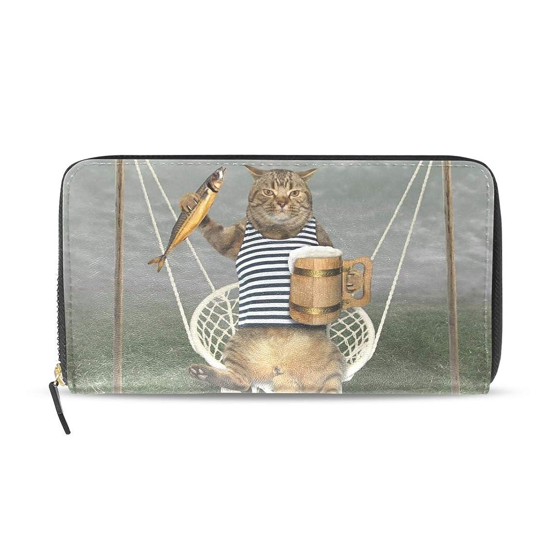 シェトランド諸島かまど敵AOMOKI 長財布 財布 ラウンドファスナー 北欧 ギフト プレゼント PU レザー 大容量 通学 通勤 旅行 幅20*丈11cm 猫柄 魚 ビール