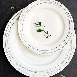 Oroley - Vajilla Porcelana Completa Syros | 19 Piezas | Moderna | Blanca | Platos | Original