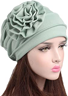 Fashian Lady Flower Stretch Cotton Muslim Turban Pleated Head Wrap Scarf Bandana Hat Pre Tied Headwear Cancer Chemo Cap WJ-57 (Color : 1, Size : One Size)