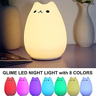 Kids Night Light, LED Cat Night Light Kitten Lamp Colorful Lighting Tap Control Model Chang Silicone Toy Soft Cover Nursery Bedroom Bedside (Popular cat)