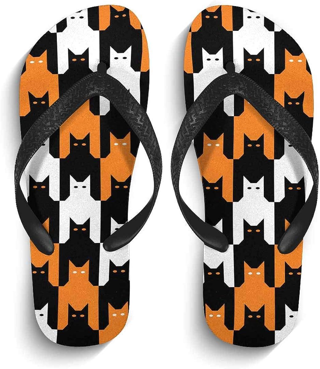 InterestPrint Men's Non-Slip Flip Flop Slippers Cats Collection Beach Thong Sandal