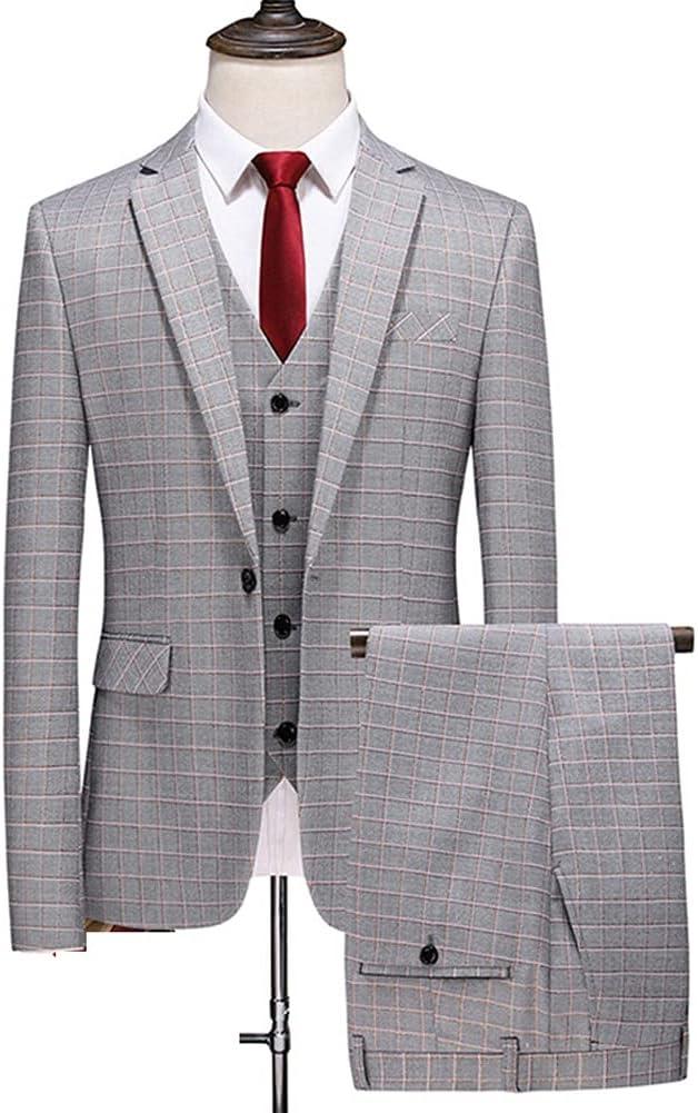 NJBYX Men Dress Suits British 3Piece Men Wedding Suit New 2021 Autumn Mens Business Formal Plaid Suit Men (Color : Gray, Size : 5XL for 85 to 90 kg)
