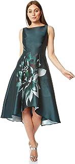 Vestido de mujer con estampado de mármol, cuello redondo, sin mangas, estampado floral, ocasión especial, boda, invitada, madre de la novia, novio, vestido vintage