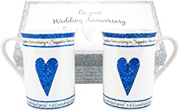 45th Sapphire Wedding Anniversary Gift Set Ceramic Mugs By Haysoms