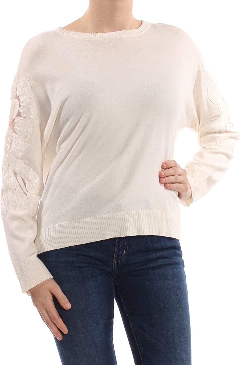 INC Womens Wool Blend Illusion Pullover Sweater Ivory M
