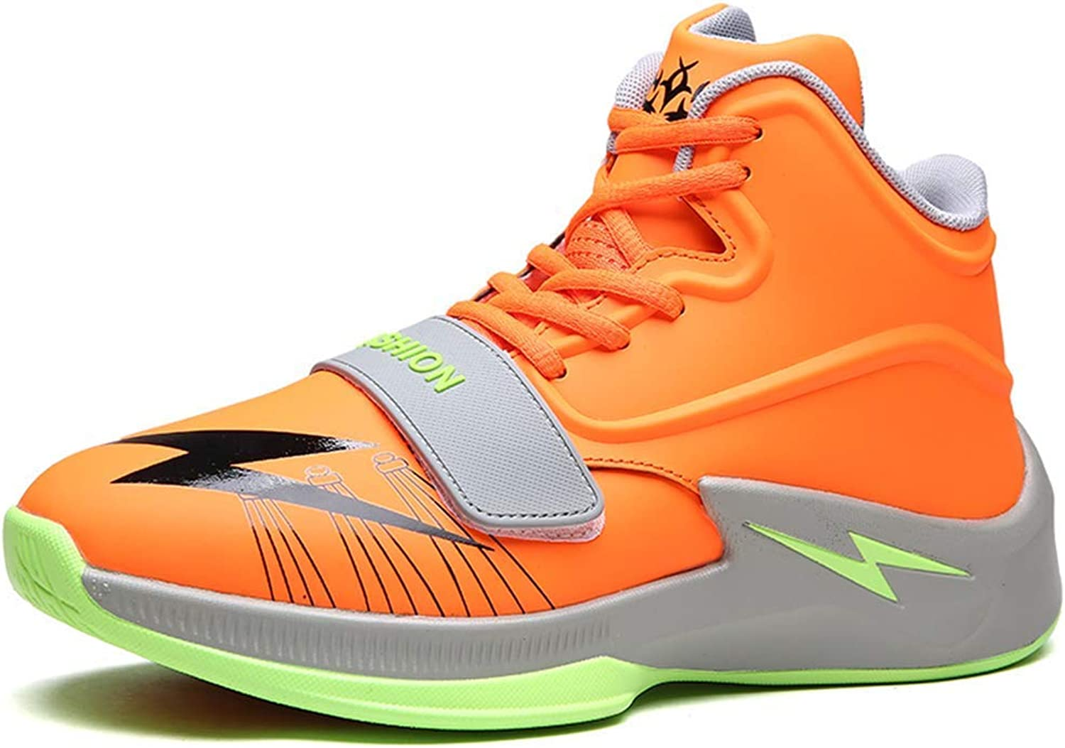 ZHRUI Men Basketball shoes Breathable Outdoor Sneakers Athletic Training Non-Slip Ankle Sport Boots (color   orange, Size   7=41 EU)