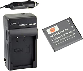 DSTE Replacement for NP-60 Battery + DC75 Travel and Car Charger Adapter Compatible Casio Exilim EX-FS10 EX-S10 EX-S12 EX-Z9 EX-Z19 EX-Z20 EX-Z21 EX-Z25 EX-Z29 EX-Z80 EX-Z85 EX-Z90 Cameras