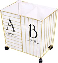 Laundry Basket Wrought Iron Extra Large European Style Mobile Storage Basket with Wheels And Toy Bathroom Storage Bucket Dirty Clothes Basket Waterproof Laundry Basket