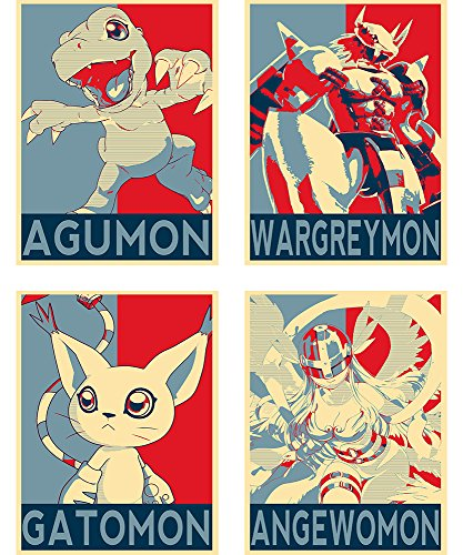 Satz von Mini-Poster - Propaganda Digimon - 4 Post-Karten (20x15 cm)