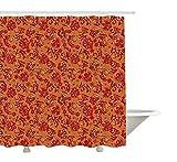GWFVA Batik Decor Duschvorhang von Nostalgic Western European Medieval Renaissance inspiriert östlichen Boho-Muster, Stoff Badezimmer Dekor Set mit Haken, rot-orange