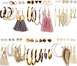 36 Pairs Fashion Earrings Set with Tassel for Women Girls...