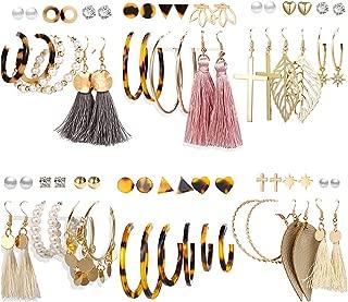 36 Pairs Fashion Earrings Set with Tassel for Women Girls Gold Cross Dangle Leaf Earrings Bohemian Acrylic Hoop Stud Earrings for Birthday/Party/Dinner/Christmas