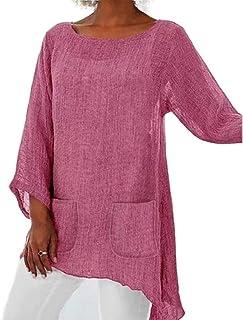 GAGA Women's Round Neck Solid Color With Pocket Long Sleeve Irregular Hem Cotton Linen Shirts