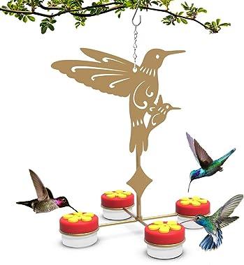 U-pick Hanging Hummingbird Feeders Hand-held Hummingbird Feeder with Clean Brushes (Metal, Gold Color)