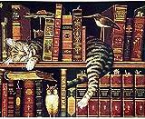 Kreuzstich Stickpackung,Katze schläft auf dem Buch11CT Stickbild Stickvorlage Vorgedruckt...