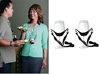 WineYoke Party Time Hand Free Wine Glass Holder Necklace - Set of 2 (Black & Black)