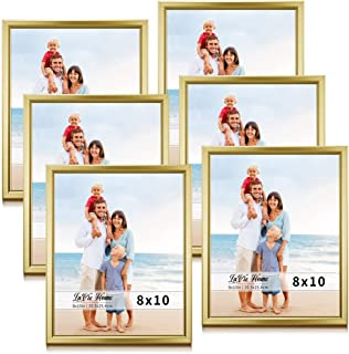 LaVie Home 8x10 Picture Frames (6 Pack, Gold) Simple Designed Photo Frame with High Definition Glass for Wall Mount & Table Top Display, Set of 6 Classic Collection