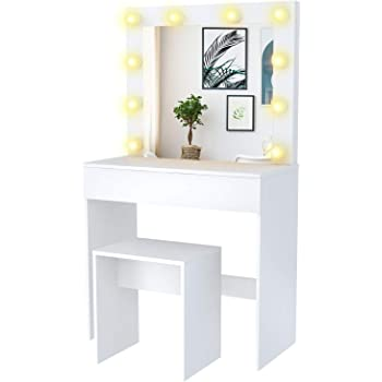 Amazon Com Mecor Makeup Vanity Table W 10 Led Lights Mirror Vanity Set With Stool Drawer Wood Dressing Table Bedroom Furniture Girls Women Gifts White Kitchen Dining