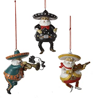 Mexican Santa Playing Instrument Ornament Set Of 3
