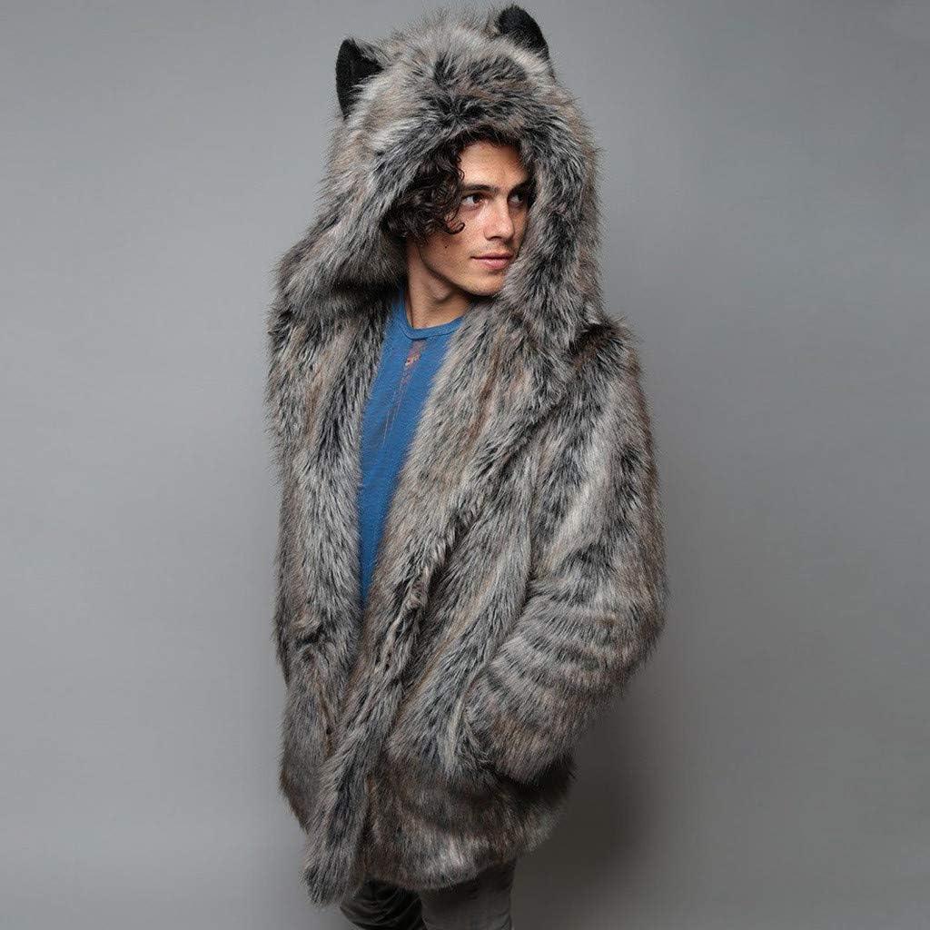 F_Gotal Mens Jackets, Men's Fashion Faux Fur Trench Coat Jacket Parka Thicker Warm Long Outwear Cardigan
