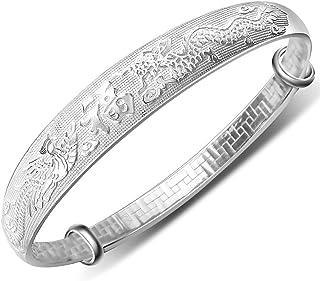 20% de Descuento Mecool 999 - Pulsera extensible de plata de ley con diseño de dragón y fénix
