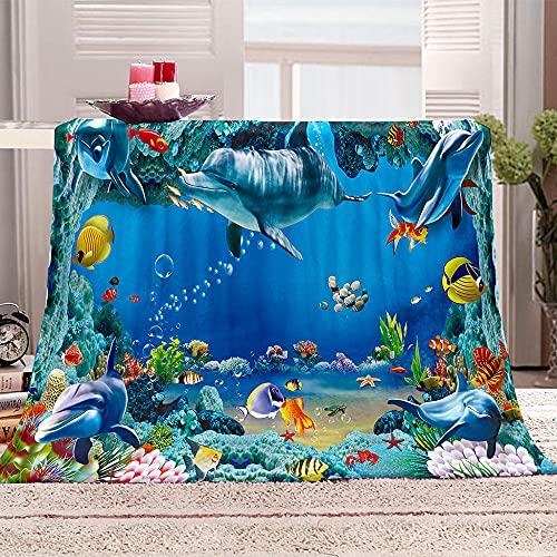 Manta De Cama 3D El Mundo Submarino Manta Reversible Suave y Esponjosa De Lana Estampado Manta de Dormitorio para Cama Infantil Individual Matrimonio 150x200cm