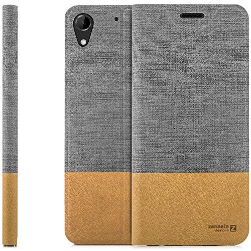 zanasta Designs Tasche HTC Desire 728G Dual SIM, Hülle Flip Case Slim Schutzhülle Handytasche mit Kartenfach, Standfunktion | Grau