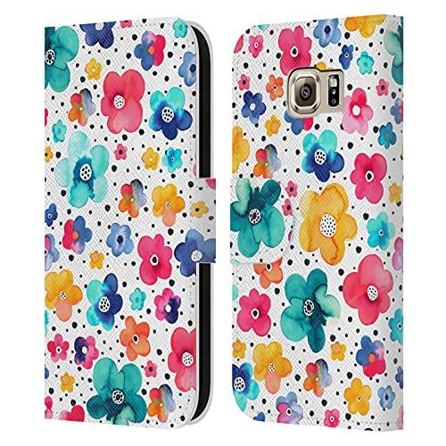 Head Case Designs Licenciado Oficialmente Ninola Dots Colourful Floral Patterns Carcasa de Cuero Tipo Libro Compatible con Samsung Galaxy S6