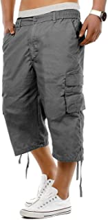 Men's Pants 3/4 Length Capris Cargo Shorts Cropped Trouser with Pockets Casual Pants