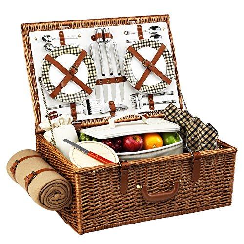 Picknick at Ascot Dorset English Style Weiden-Picknickkorb mit Service für 4 und Decke - Pavillon One Size Weide mit London Plaid Teller/Servietten