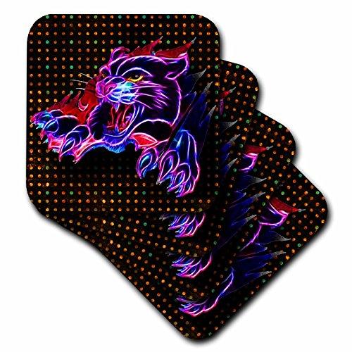 3dRose CST_150943_1 – Juego de 4 Posavasos, diseño de Pantera Negra neón y Fondo de neón