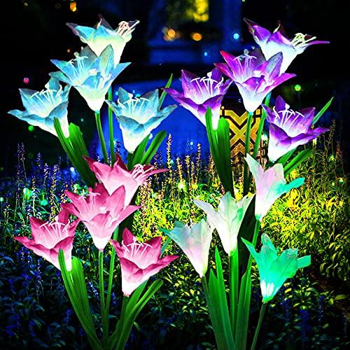 ZQX - 4 Luci solari da giardino a forma di fiore solare per esterni, multicolore con fiori di giglio...