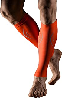 +MD Calf Compression Sleeves for Men and Women Leg Support Sleeve for Running Sports Pain Relief Orange Medium