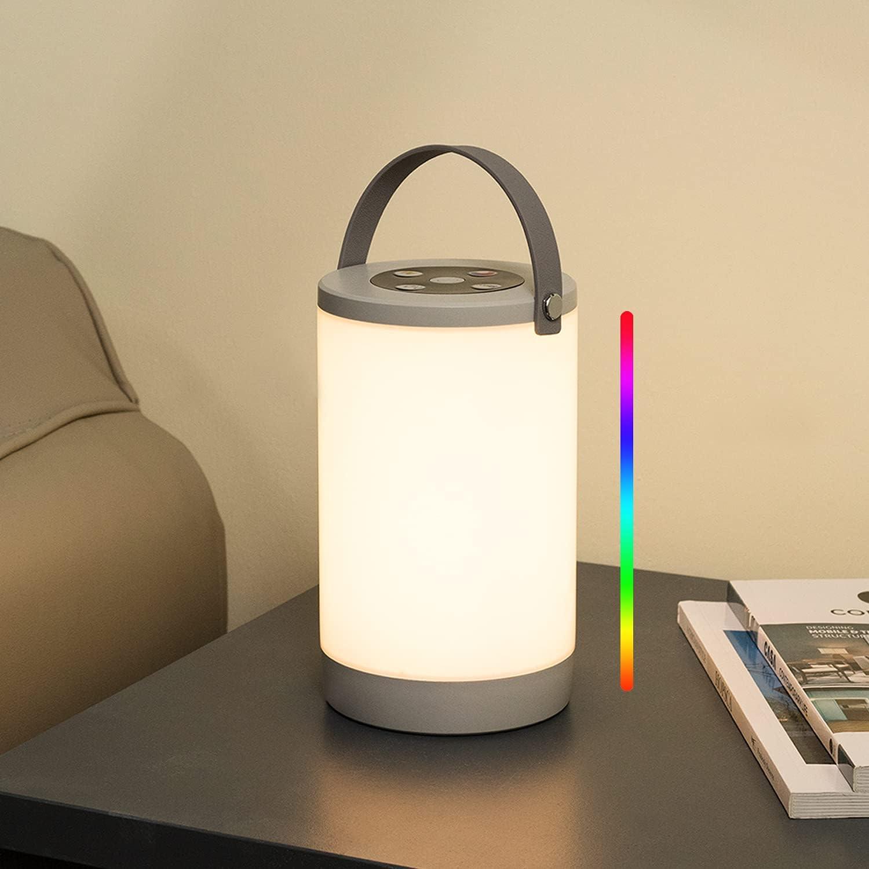 Lalavon Lámpara de Mesa de Noche, IP65 Luz Camping Recargable USB con Batería 3600mAh, Portable Luz Exterior LED, Luz Blanca 3000K, 5W 160LM + Lámpara de Mesa sin Cable RGB Interior y Exterior
