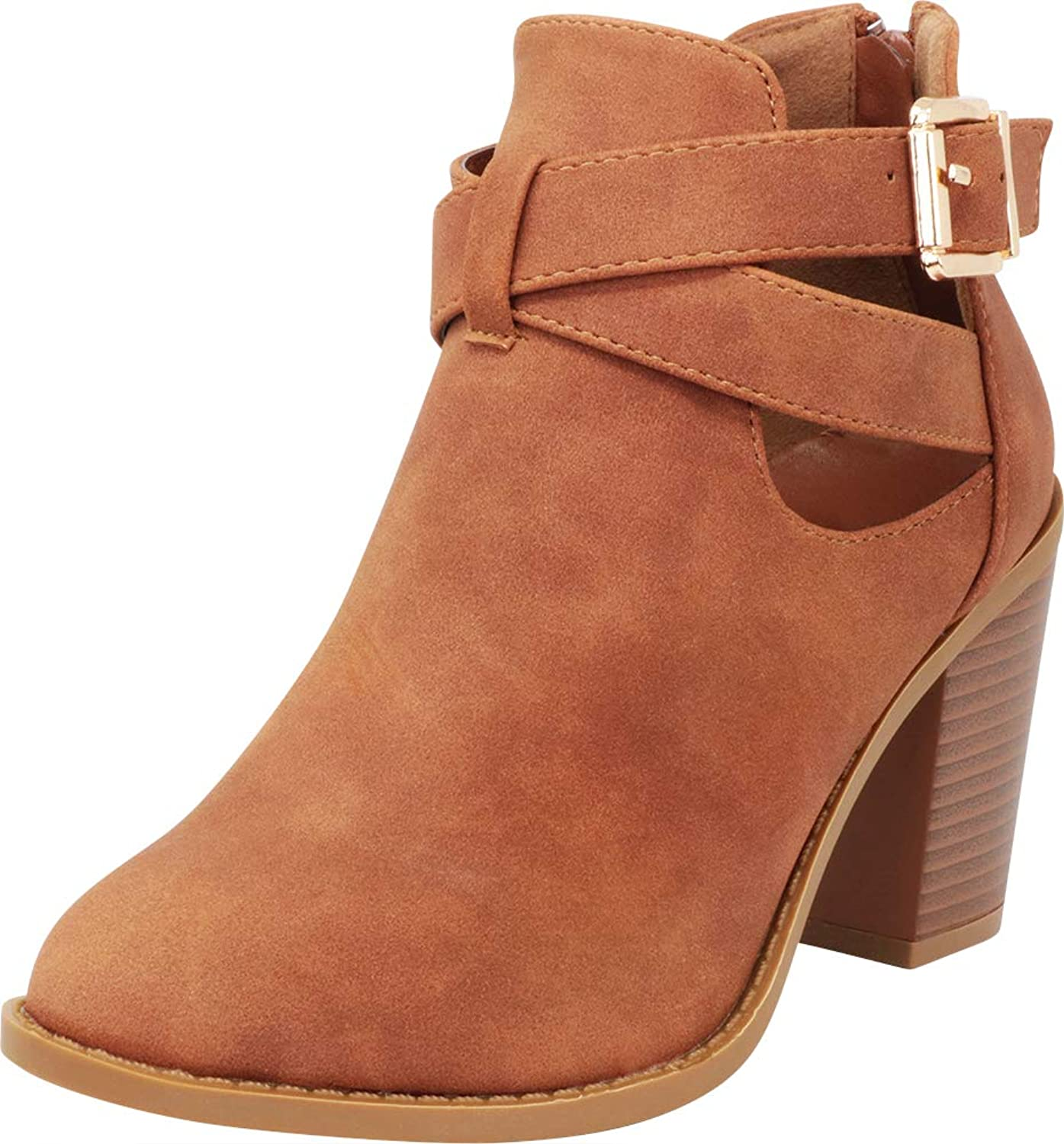 Cambridge Select Women's Crisscross Strappy Cutout Chunky Stacked Heel Ankle Bootie