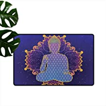 RenteriaDecor Psychedelic,Entrance Anti-Slip Doormat Asana Asian Philosophy Yoga Pose Peaceful Ritual Body Energy Karma Image 18