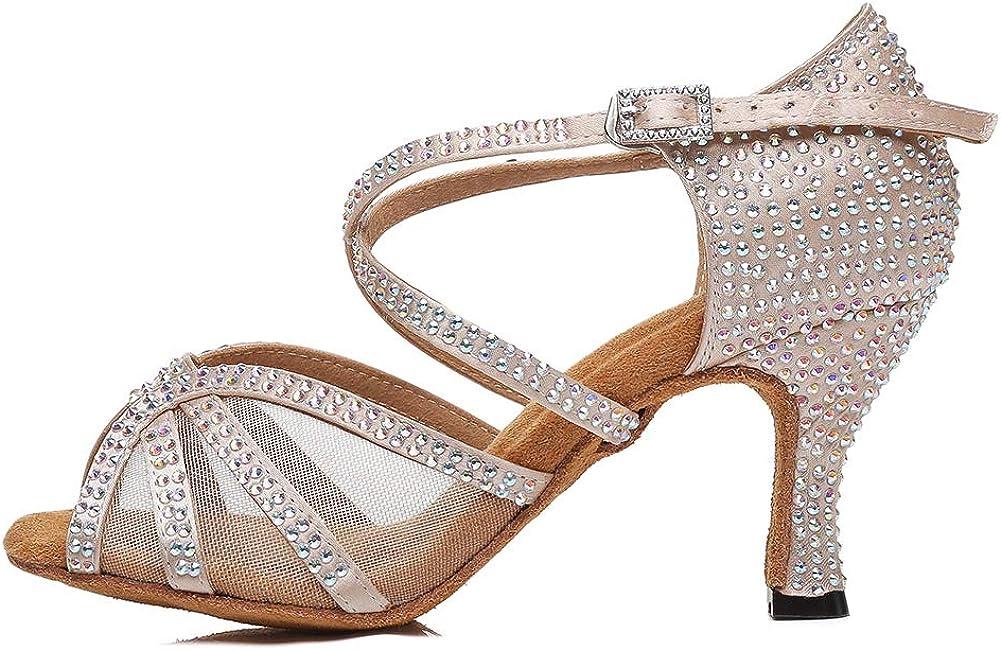 HROYL Women Rhinestone Dance Shoes Latin Ballroom Performence High Heel Dance Heels,YCL424