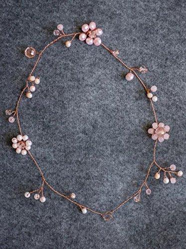 FXmimior Brautschmuck Rose Gold Pastell Stirnband Rosa Blume Haar Rebe Glas Perlen Kirsche Hochzeit Haarschmuck Blumenmädchen Haarschmuck Frauen Kopfschmuck Tiara