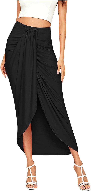 Women's Casual Slit Wrap Asymmetrical Elastic High Waist Maxi Draped Solid Skirt