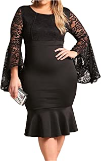 Women's Plus Size Floral Lace Bell Sleeve Mermaid Bodycon Party Midi Dress