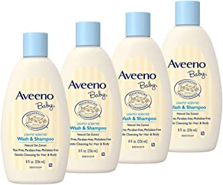 Aveeno Baby Gentle Wash & Shampoo with Natural Oat Extract, Tear-Free & Paraben-Free Formula for Hair & Body, Lightly Scen...