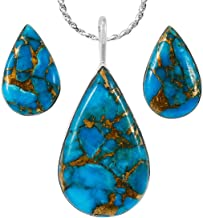 925 Sterling Silver Matching Pendant & Earrings Set with Genuine Gemstones 20