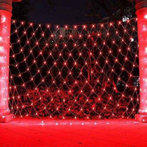 Net Light Christmas Lights, Tree Mesh Lights Outdoor Hanging String Light for Xmas, Halloween, Garden, Walkway, Bushes Decor-9.8ft x 6.6ft(Red)