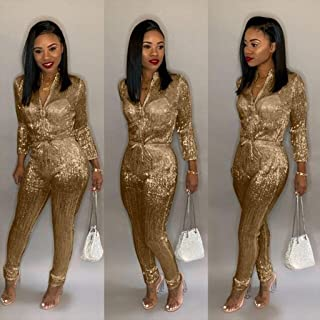 Jumpsuit Women New Gold Silk Zipper Up High Waist Pencil Long Jumpsuits Casual Romper Playsuits 4 Colors S-3XL Plus Size (Color : Gold, Size : XXX-Large)