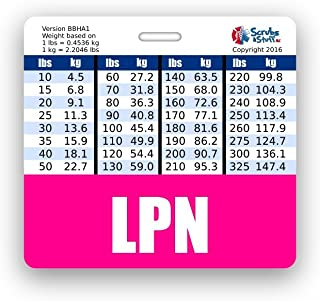 LPN Badge Buddy Horizontal w/Height & Weight Conversion Charts (Pink)