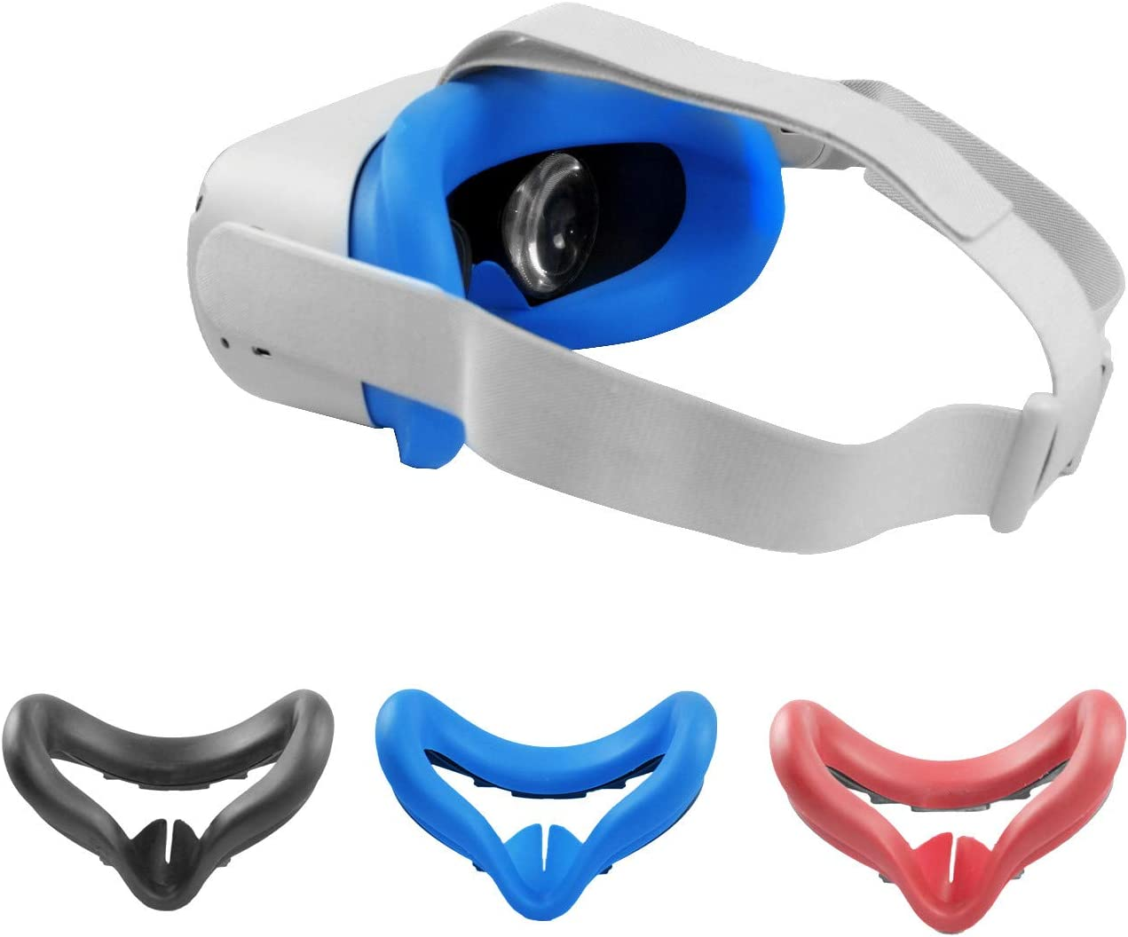 VR Face Silicone Cover for Oculus Quest 2 VR Headset Soft Anti-Sweat VR Washable Light Blocking Cover (Blue)