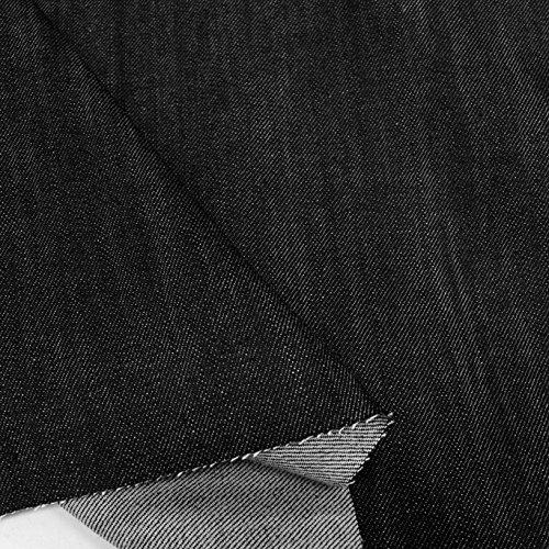 TOLKO Baumwollstoffe schwerer Jeans Stoff ohne Stretch | weicher Bekleidungsstoff für Hose Jacke Rock | robuster Polsterstoff/Bezugsstoff für Sofa Stuhl Couch | Meterware 160cm breit (Schwarz-Blau)
